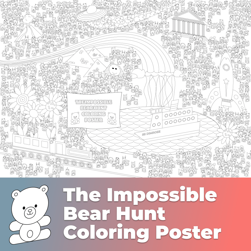 The Impossible Bear Hunt Coloring Poster – Huge Free Coloring Page