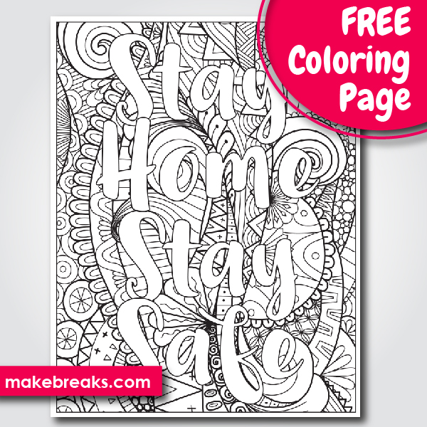 Free Stay Home, Stay Safe Word Coloring Page 2