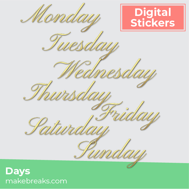 Free Gold Script Days of the Week Digital Planner Stickers