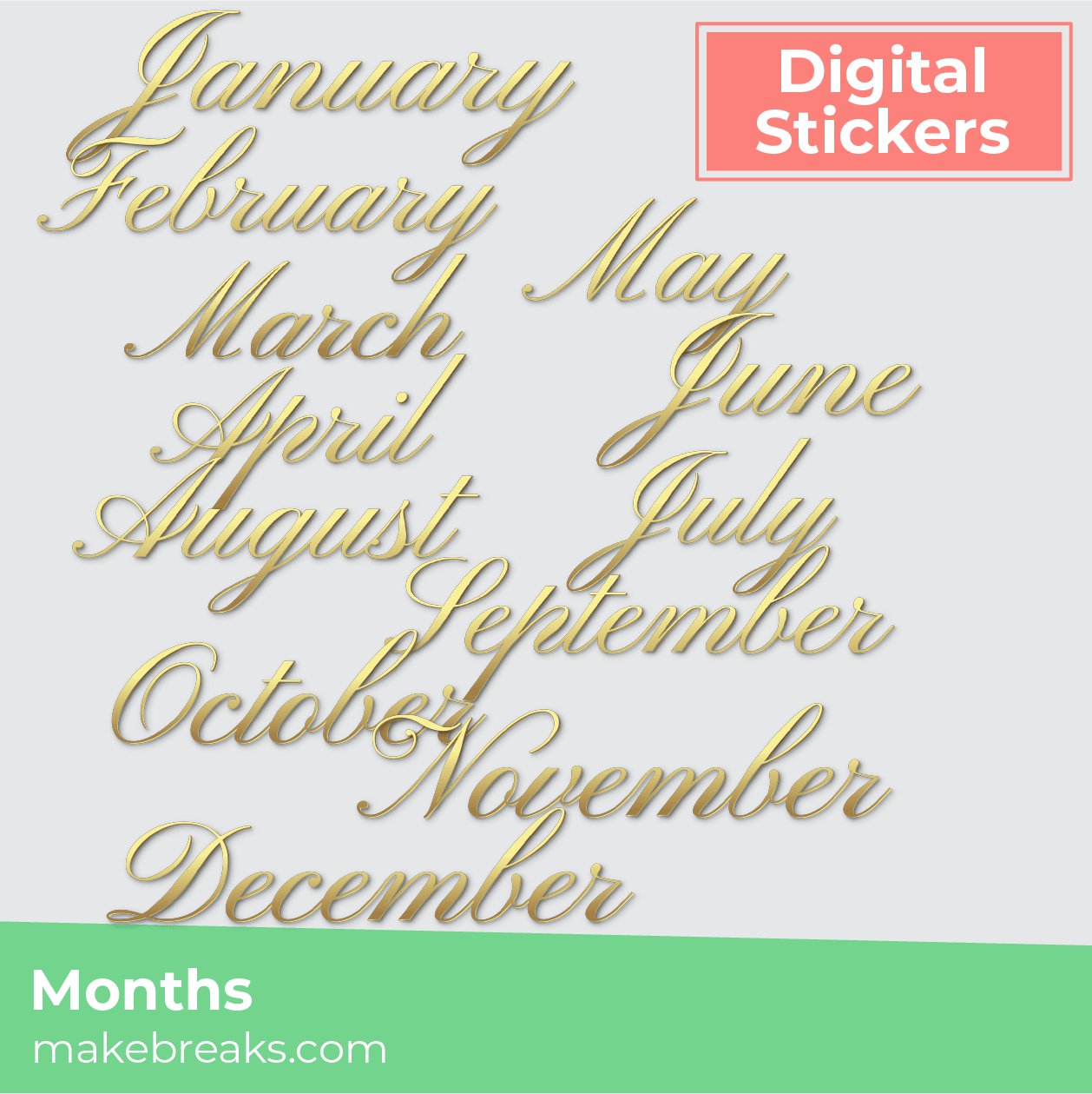 Free Gold Month Headers Digital Planner Stickers