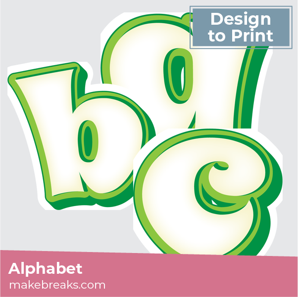 Green and White Free Printable Letters