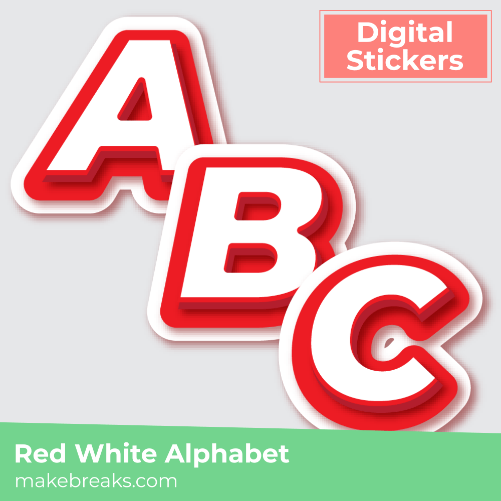 Free Red and White Alphabet Digital Planner Stickers