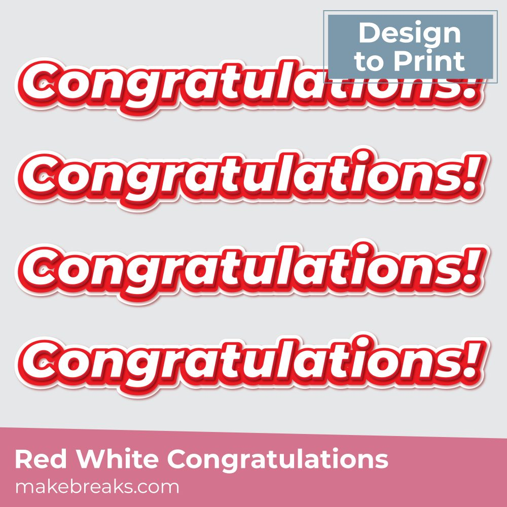 Free Red White Congratulations Embellishment to Print