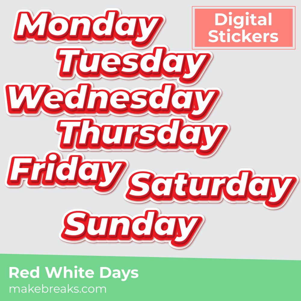 Free Red and White Days of the Week Digital Planner Stickers