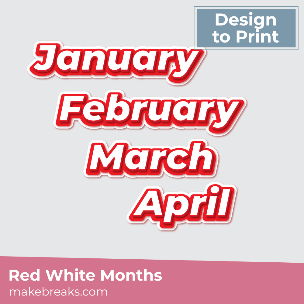 Printable Red and White Month Names Embellishments