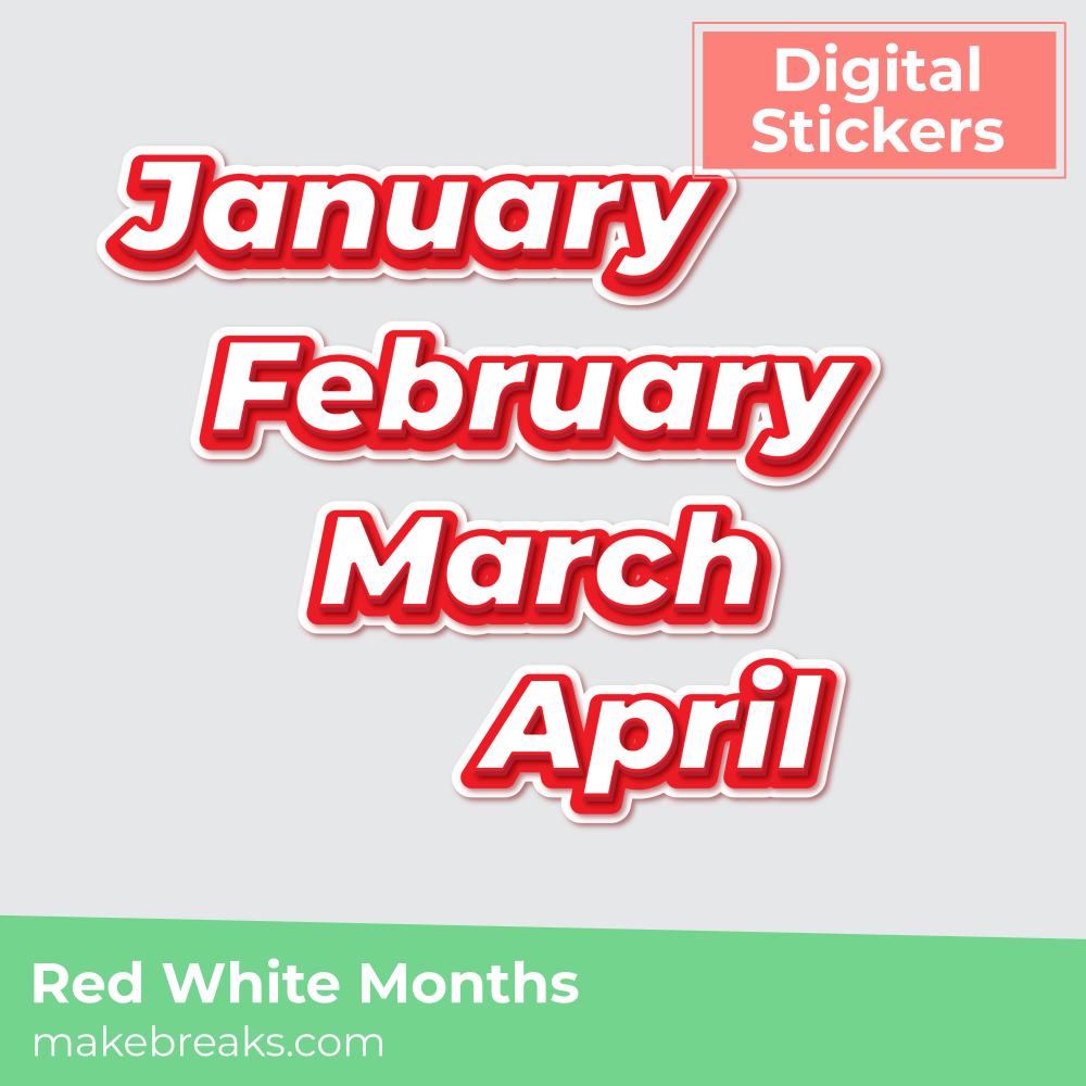 Red and White Month Names Digital Stickers