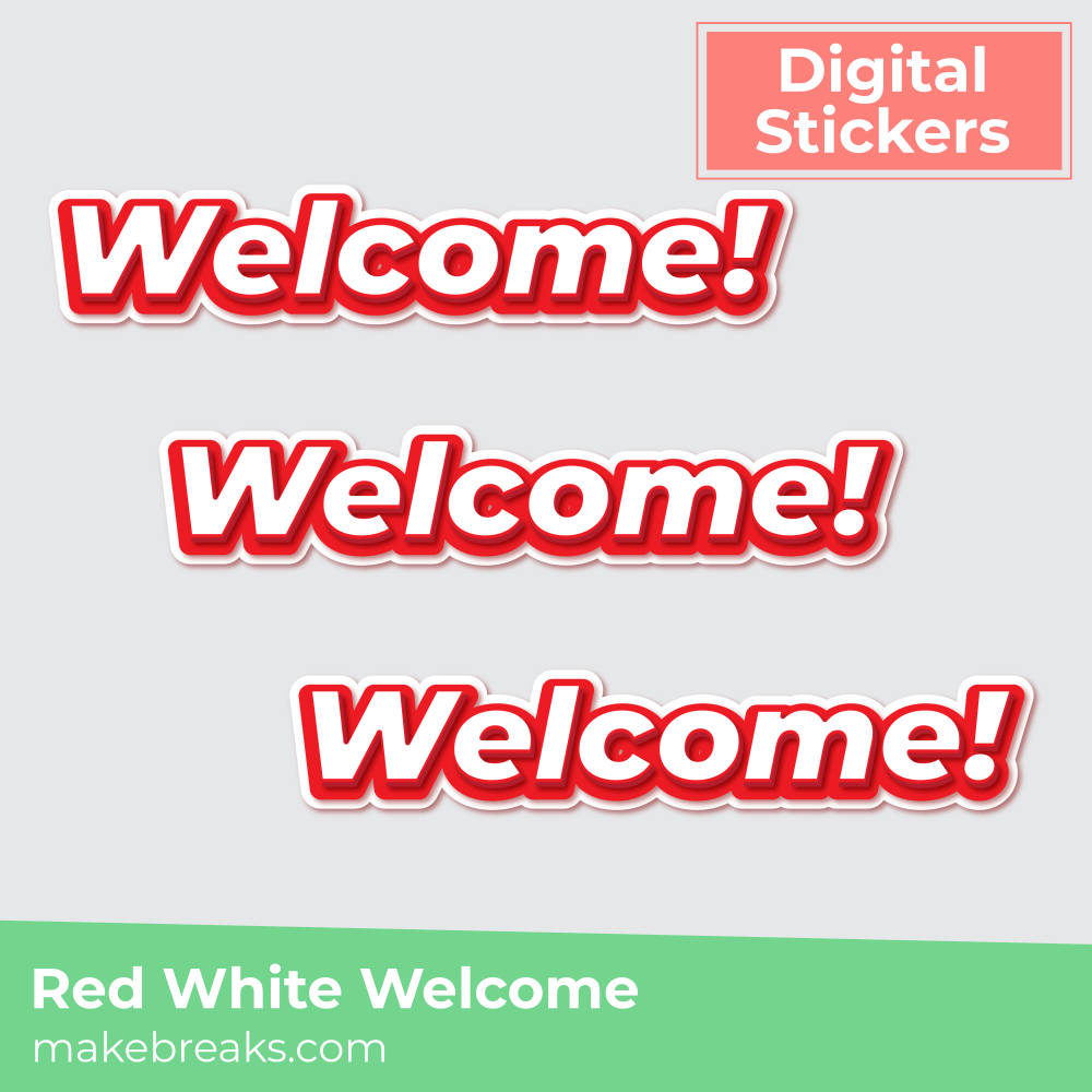 Red and White Welcome Digital Planner Sticker