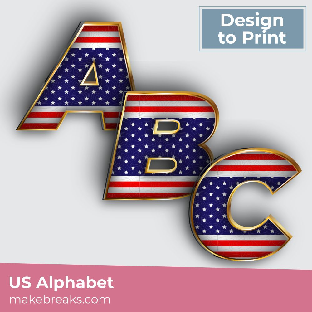 Free Printable US Stars and Stripes Alphabet Letters