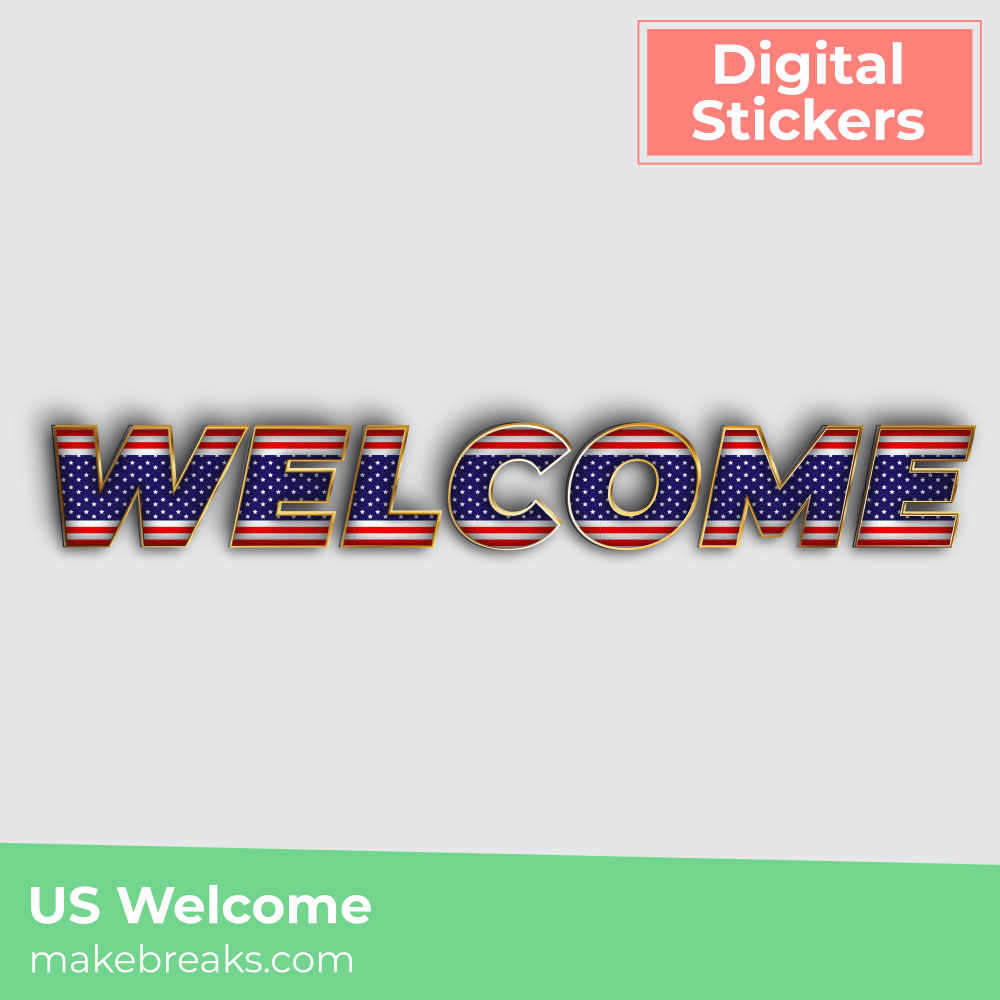 US Stars and Stripe Style Welcome Digital Planner Sticker