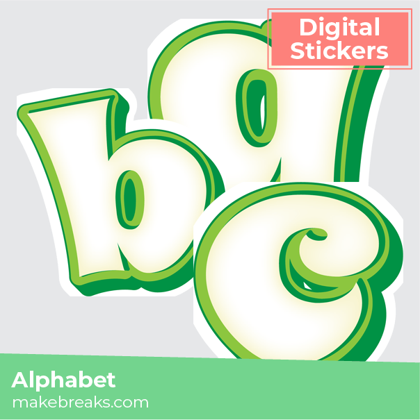 Free Green and White Cartoon Alphabet Letters Digital Planner Stickers
