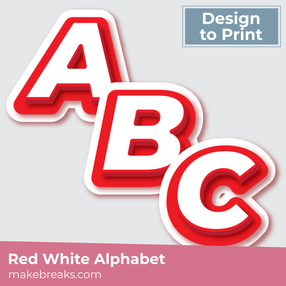 Free Printable Red and White Alphabet Letters