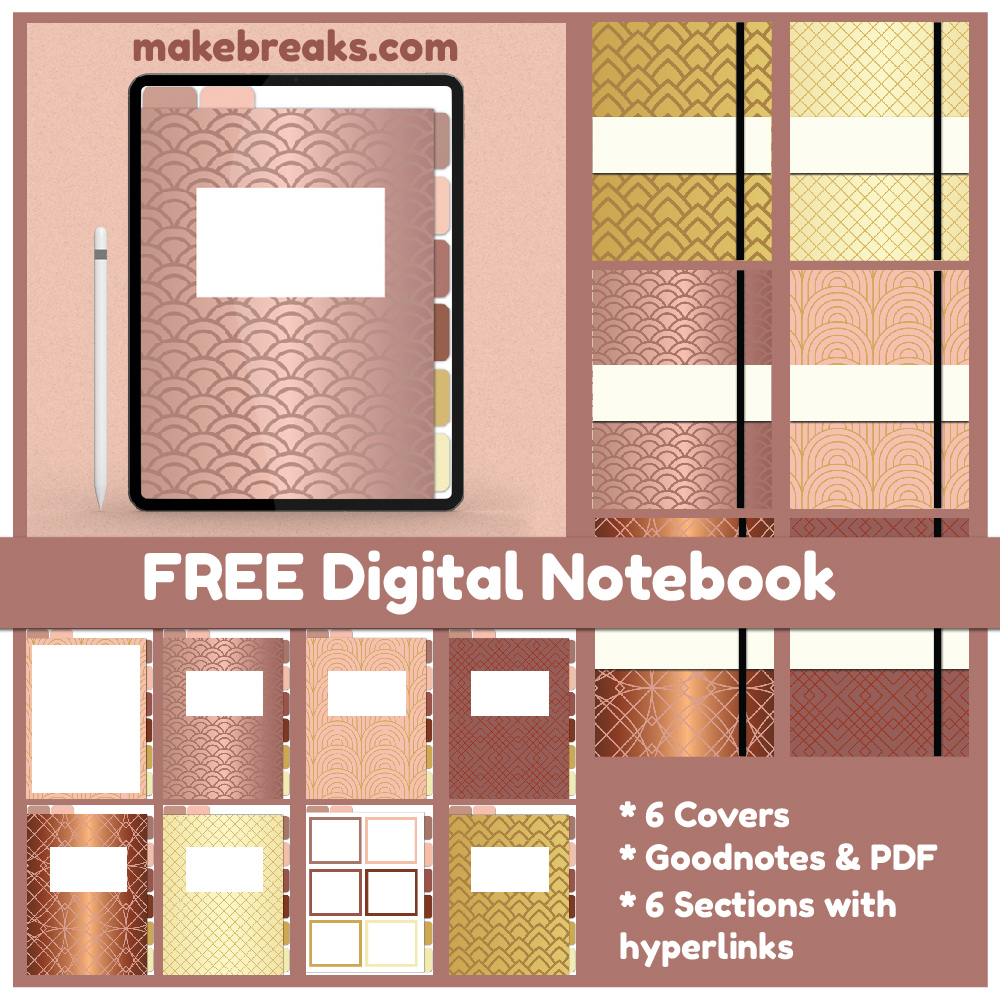 Gold Effect Free Digital Notebook for Goodnotes & Other PDF Readers
