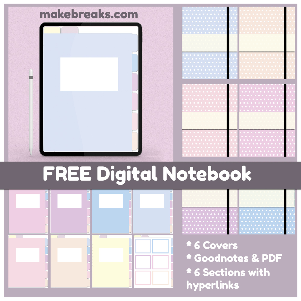 Pastel Colors Free Digital Notebook for Goodnotes & Other PDF Readers