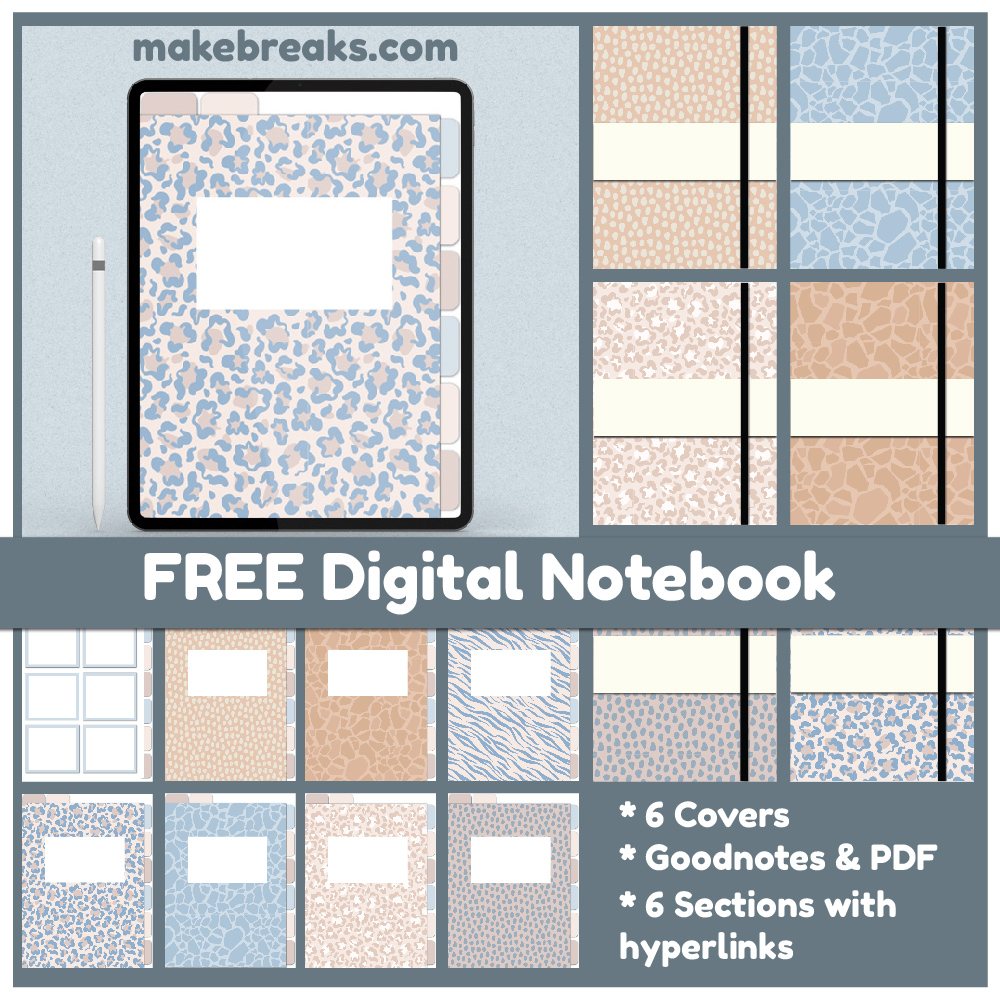 Pastel Animal Print Colors Free Digital Notebook for Goodnotes & Other PDF Readers