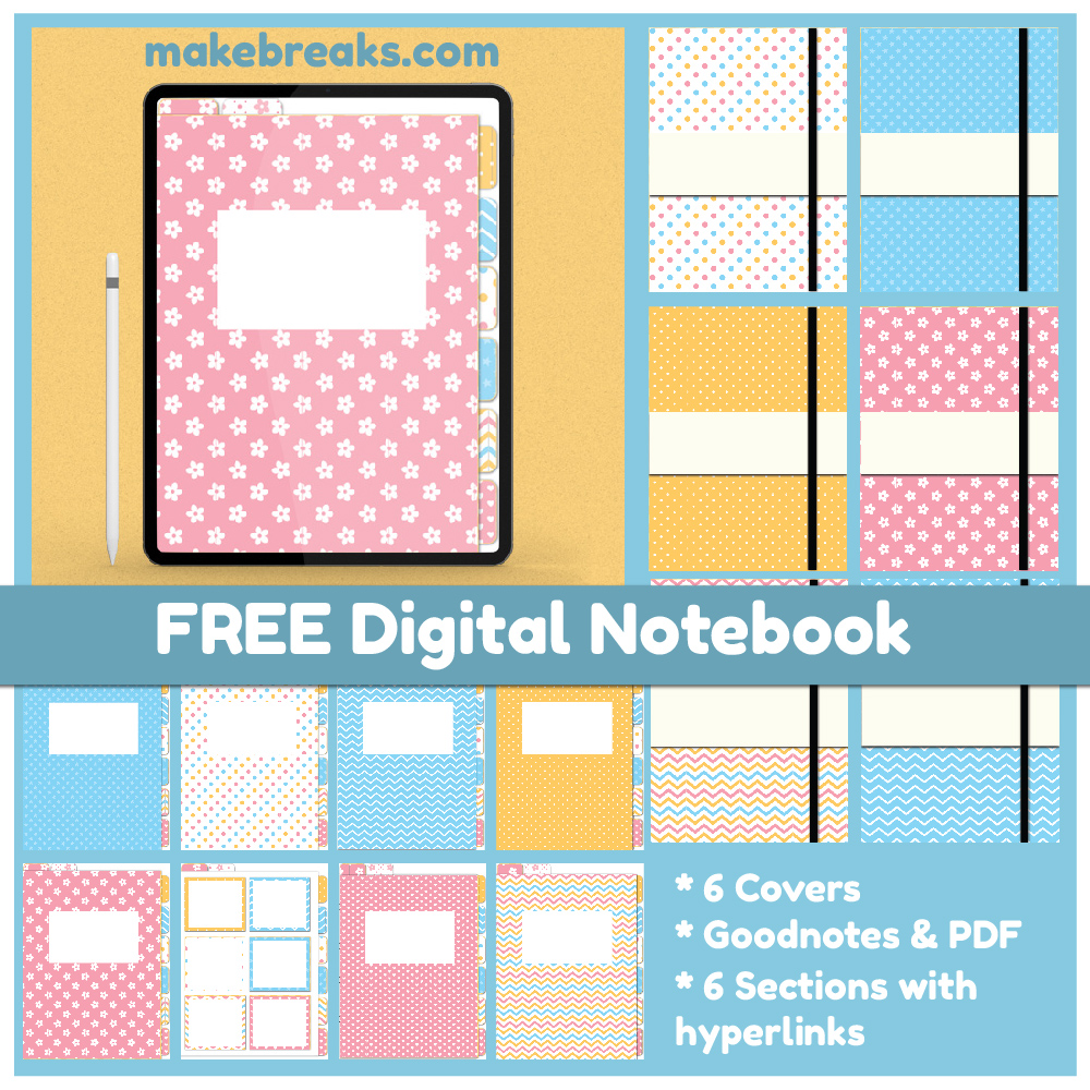 Spring Pastel Colors Free Digital Notebook for Goodnotes & Other PDF Readers