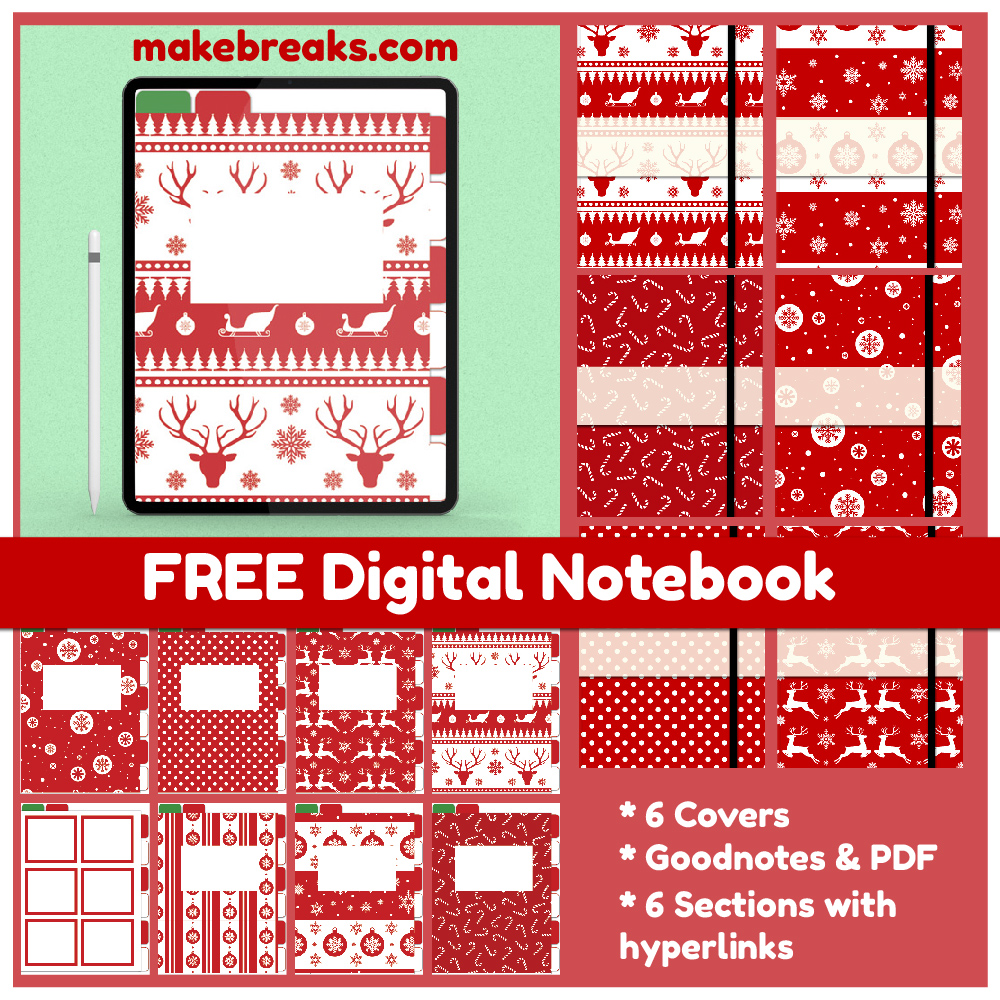 Christmas Free Digital Notebook for Goodnotes & Other PDF Readers