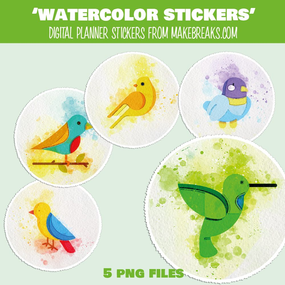 Free Digital Planner Stickers Watercolor Birds – PNG Files