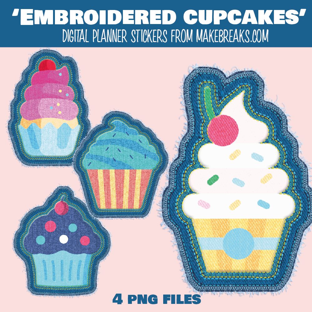 Free Digital Planner 'Cupcake' Stickers / Embroidered Elements – PNG Files