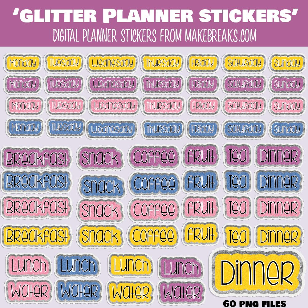 Free Days of the Week and Meals Digital Planner Stickers with Glitter Effect – PNG Files