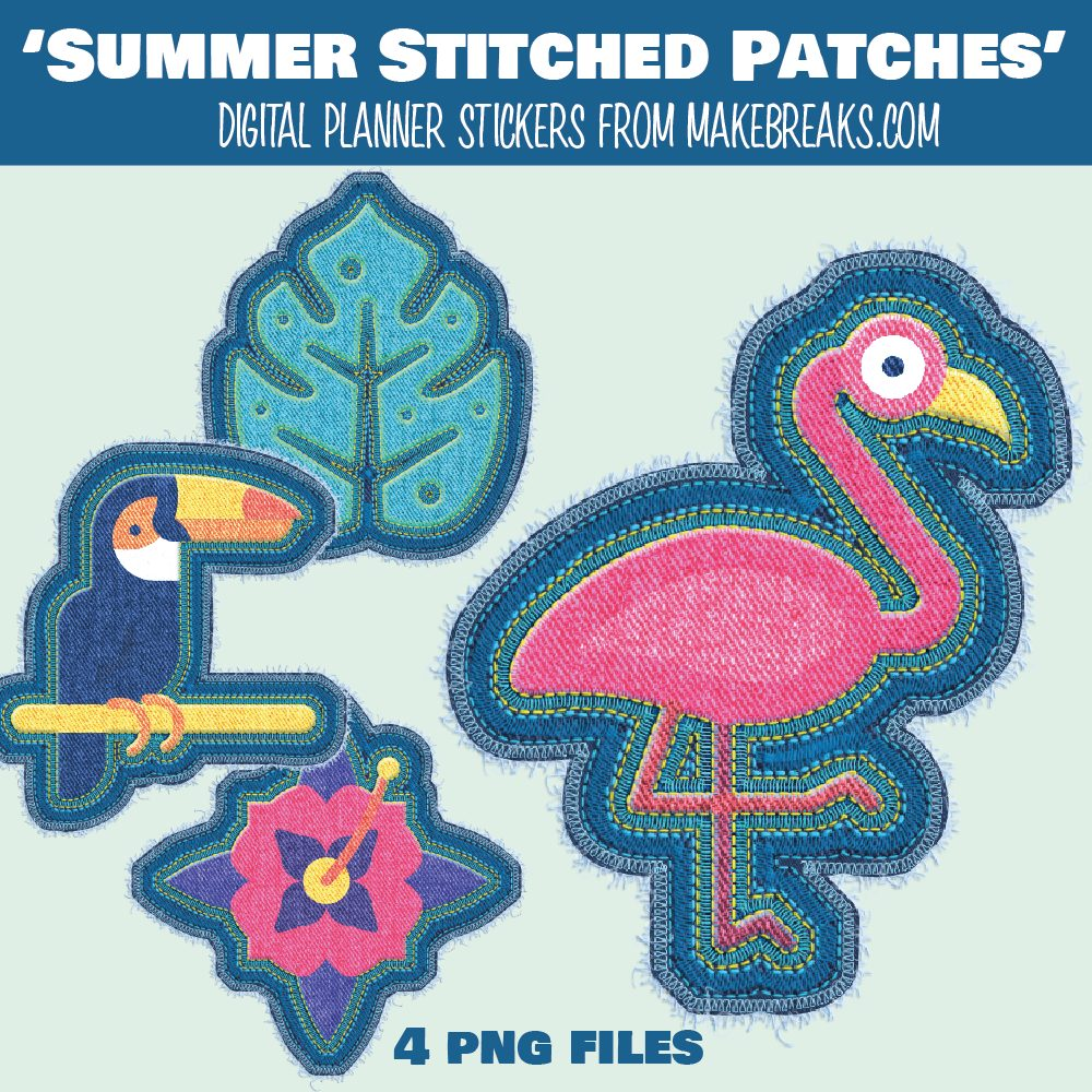 Free Digital Planner 'Summer' Stickers / Embroidered Elements – PNG Files
