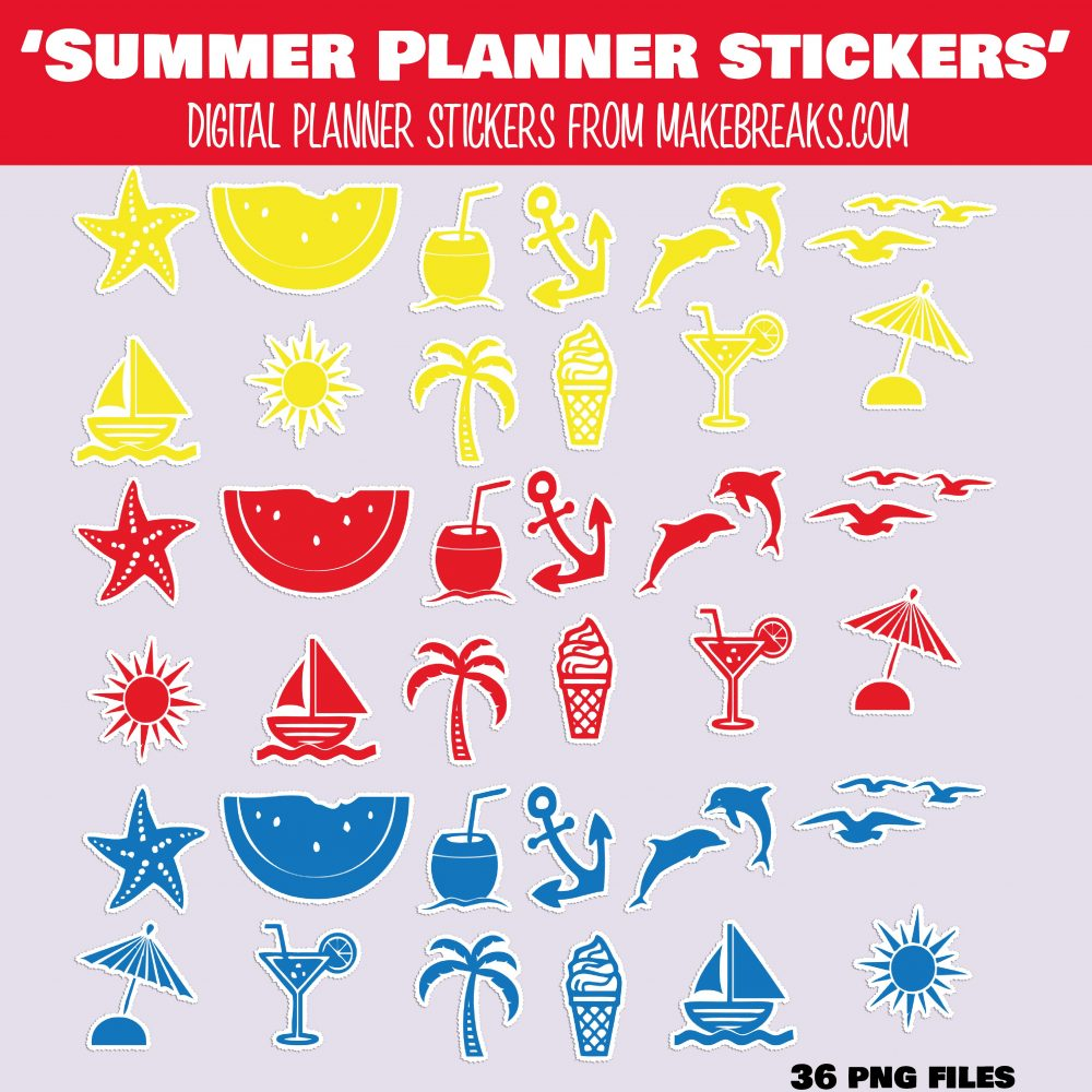 Free Summer Themed Digital Planner Stickers – PNG Files
