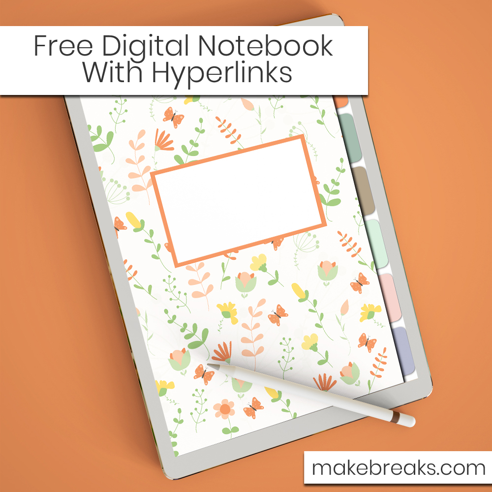 Floral Pattern Free Digital Notebook with Hyperlinks – for Goodnotes & Other PDF Readers